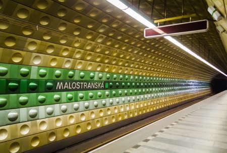 subway station: Underground subway of Prague, in Czech Republic. Malostranska station. Editorial