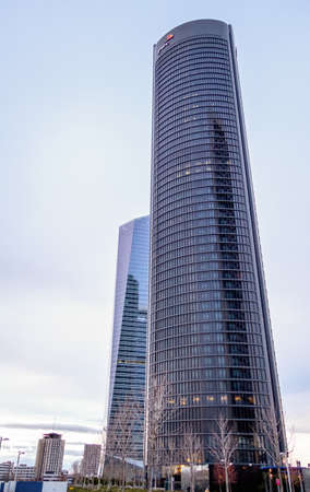 cuatro: MADRID, SPAIN - MARCH 10, 2013: Cuatro Torres Business Area (CTBA). View of PwC Tower and Glass Tower skyscrapers
