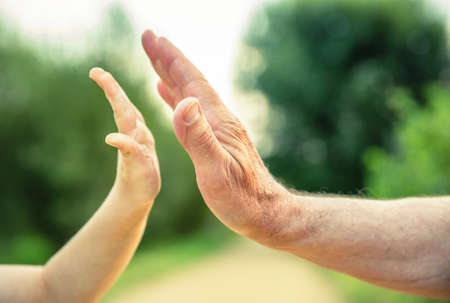 babies hands: Child and senior man hands giving five over a nature background. Two different generations concept. Stock Photo