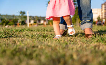 Adorable baby girl learning to walk with his mother on the grass park in a sunny summer day