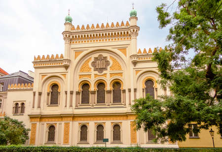 jewish quarter: Facade of Spanish Synagogue, located in the Josefov district of Prague, in Czech Republic Editorial