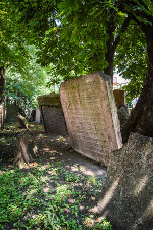 jewish group: Tombstones on Old Jewish Cemetery in Prague, Czech Republic Editorial