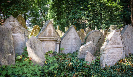 jewish group: Group of tombstones on Old Jewish Cemetery in Prague, Czech Republic Editorial