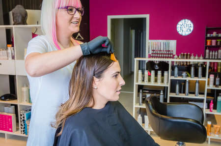 tinte cabello: Peluquería mostrando muestra de tinte para el cabello de mujer joven y bella antes de cambiar su color de pelo