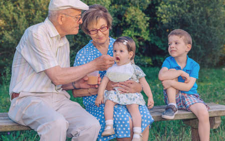 seniors: Senior man feeding with fruit puree to adorable baby girl sitting over a senior woman in a bench outdoors. Grandparents and grandchildren lifestyle concept.
