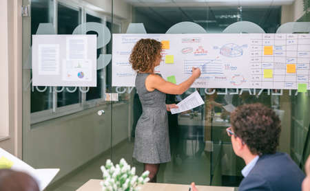 headquarters: Unrecognizable female coach explaining project management studies on paper over glass wall in headquarters