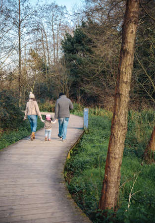 holding hands while walking: Back view of family holding hands while walking over a wooden pathway into the forest Stock Photo