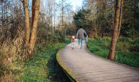 holding hands while walking: Back view of man and little girl holding hands while walking over a wooden pathway into the forest