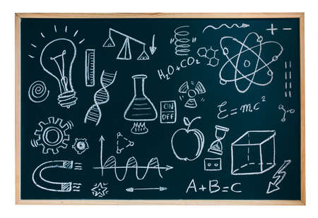 Isolated blackboard with drawings and symbols chemists and scientists