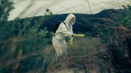 Woman in bacteriological protective suits searching among the vegetation