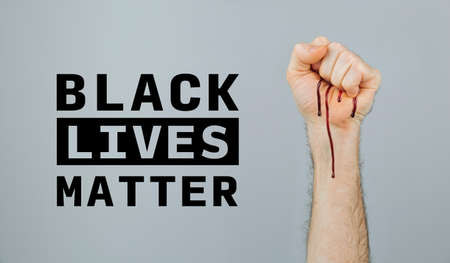 Bleeding clenched fist with Black Lives Matter text