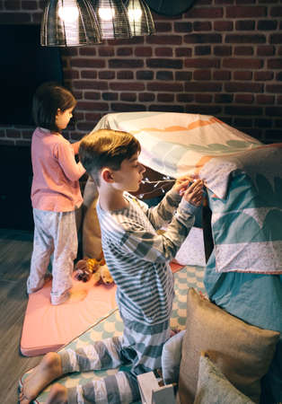 Boy helping little sister putting garland of lights in a tent for slumber party