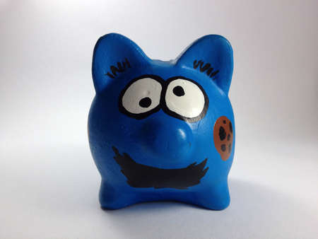 Piggy bank funny face in blue