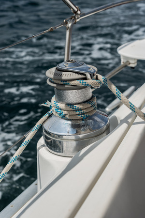 winch: Boat winch close-up