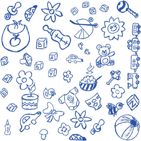 Full page of fun hand draw doodles on a theme Vector