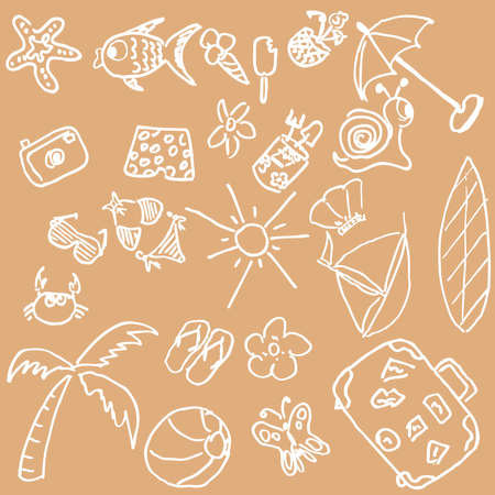 Full page of fun hand draw doodles on a summer theme Stock Vector - 5190414
