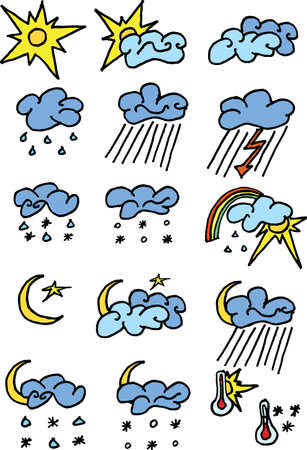 hailstorm: 16 weather icons set on white. Easy to use. Illustrator vector image.