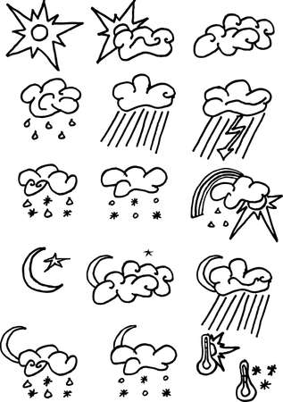 16 weather icons set on white. Easy to use. Illustrator vector image.