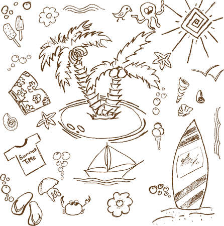 Full page of fun hand draw doodles on a summer theme Vector