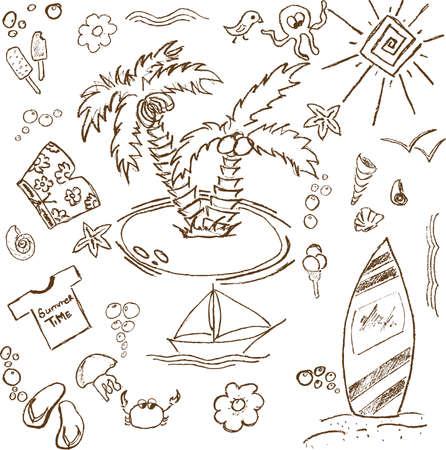 Pleine page de plaisir doodles attirer la main sur un thème d'été