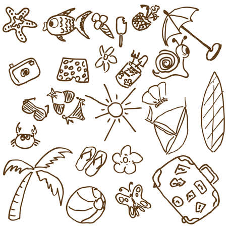 funy: Full page of fun hand-drawn doodles on a summer theme. Visit my portfolio for funy collection of hand-drawn doodles. Illustration