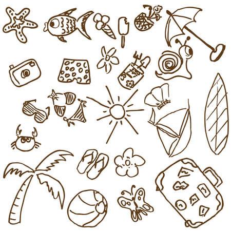 sonnenschirm: Ganze Seite Spa� Hand-Doodles, die auf einem Sommer-Thema. Besuchen Sie mein Portfolio funy f�r die Sammlung von Hand erstellt Doodles.