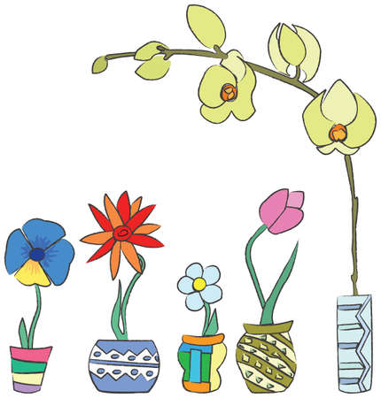 Colorful hand-drawn spring flowers in ceramic containers. Visit my portfolio for funy collection of hand-drawn doodles. Vector