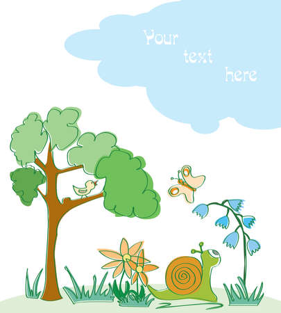 Cartoon scene with snail and butterfly. Visit my portfolio for funy collection of hand-drawn doodles. Vector