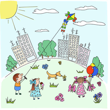 Happy cartoon children play with a kite in city park in the solar afternoon Vector