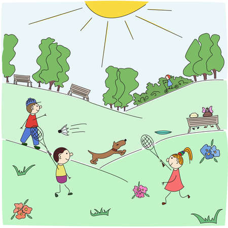 Children play badminton on a lawn of city park in solar summer day. Hand-drawn doodle, it is easy to use, all objects are grouped.  Vector