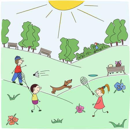 banco parque: Los ni�os juegan b�dminton en un jard�n del Parque de la ciudad en d�a solar de verano. Bosquejo dibujados a mano, es f�cil de usar, se agrupan todos los objetos.
