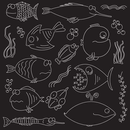 Cartoon set of bright and funny fish swimming. For more different fishes visit my portfolio. Vector