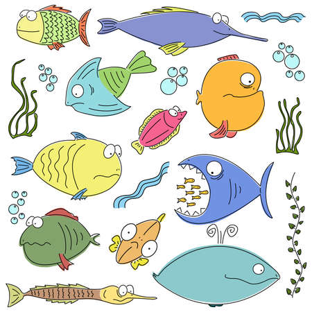 small fishes: Cartoon set of bright and funny fish swimming. For more different fishes visit my portfolio.