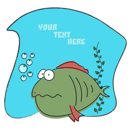 deep in thought: Cartoon comic funny fish with thought bubble for greeting card. For more different fishes visit my portfolio.