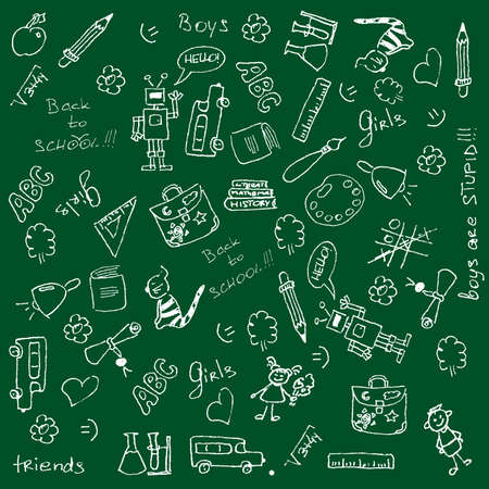 Full page of fun hand-drawn doodles on a school theme. For more doddles visit my portfolio. Stock Vector - 5295616