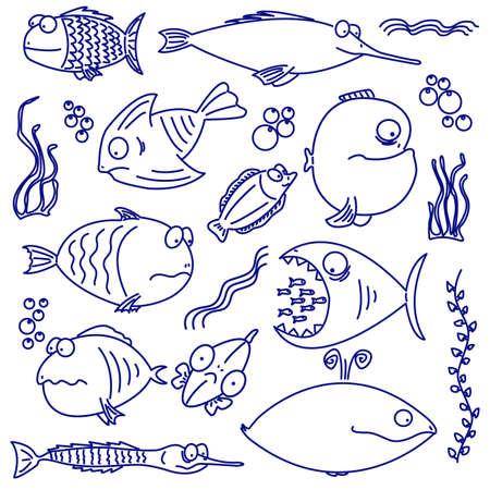 poisson rigolo: Cartoon ensemble de la natation intelligente et dr�le de poisson. Pour les poissons plus diff�rent visitez mon portfolio.