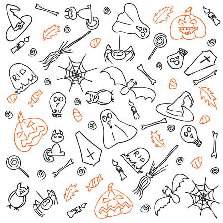 A set of hand-drawn doodle style black & orange icons. For more different doodles visit my portfolio.  Vector