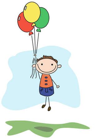 Little beautiful boy flies on balloons Stock Vector - 5355953