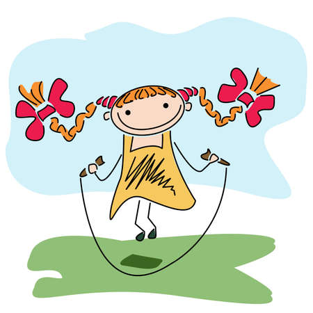 plait: Beautiful happy little girl playing with skipping rope outdoor