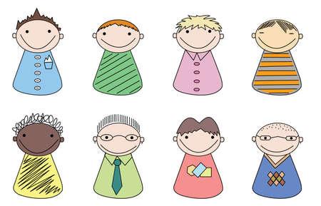 userpic: User icons on white. Illustrator vector image. Please visit my portfolio for girls icons.