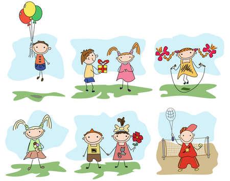 game boy: Beaucoup d'enfants heureux de jouer en plein air Illustration