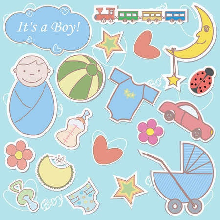 Collection of colorful babys stickers Vector