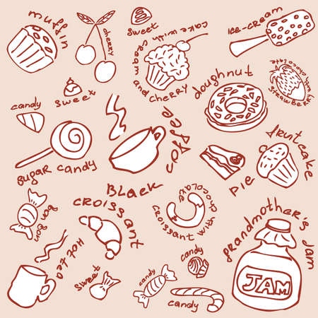 Big collection of the hand-drawn doodles of the different dessert. Vector