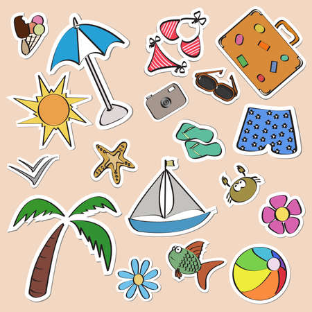Summer stickers set Vector