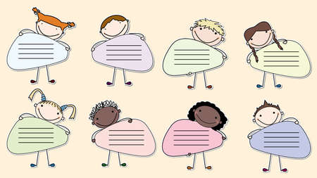 Collection of stickers with multiracial kids holding a banners. Vector