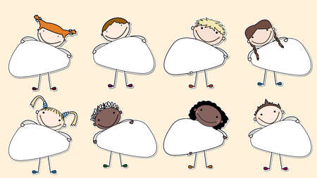 Collection of stickers with multiracial kids holding a banners: insert your own message Vector
