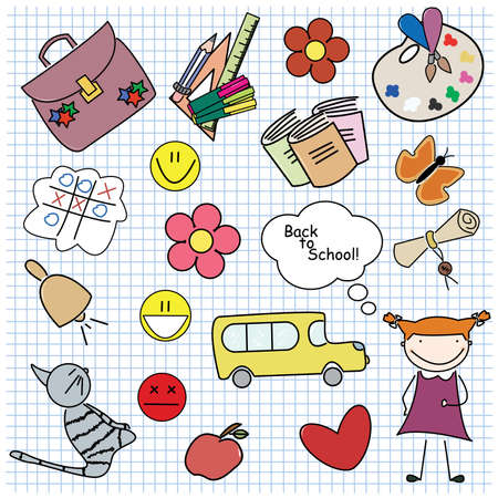 objetos escolares: Conjunto de objetos de la escuela color diferentes con la ni�a. Para el conjunto de ni�o, por favor visite mi cartera. Vectores