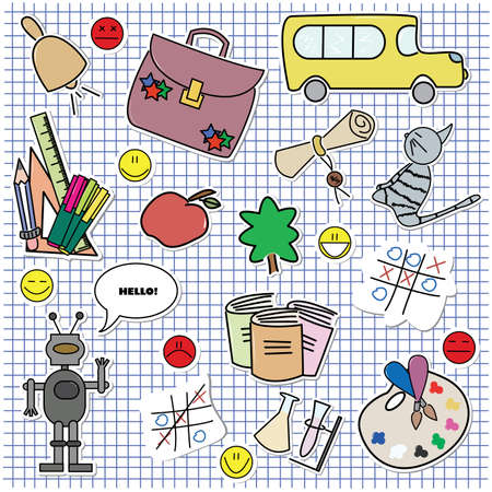 workbook: Collection of colored fun school theme stickers. For more different stickers please visit my portfolio.   Illustration