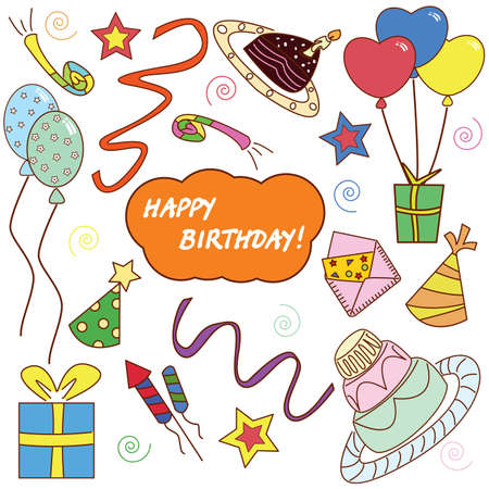 Vector illustration with many things for celebration of birthday and party Stock Vector - 5501735