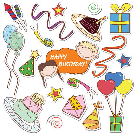 many colored: Collection of the colored stickers with many things for celebration of birthday and party